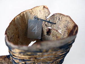 If you love nature, you will love this sculptural vessel made of enamelled iron wire  with a found birch bark insert. Piece to celebrate a wonderful walk in the woods. A reflective and mindful piece