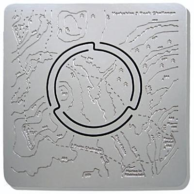 Yorkshire 3 Peaks Challenge Map'n'lite stainless steel map / candle holder features Pen-y-ghent, Ingleborough and Whernside, via Horton in Ribblesdale.