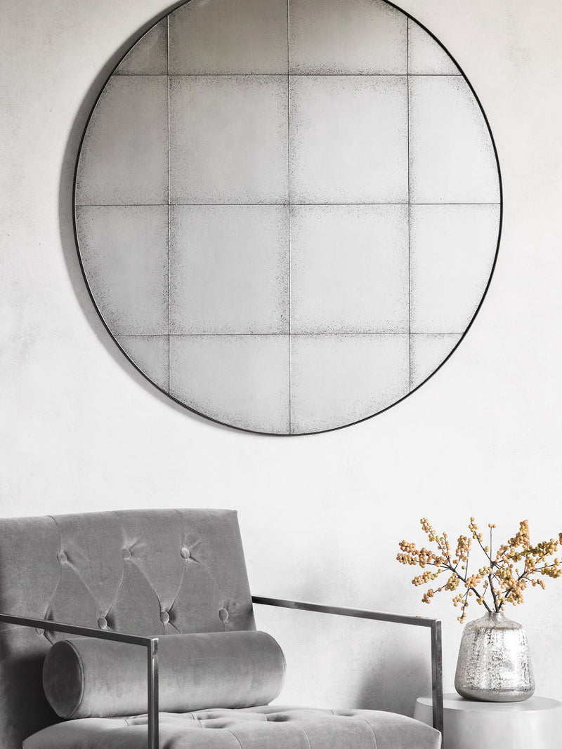 Antiqued Grid Round Mirror