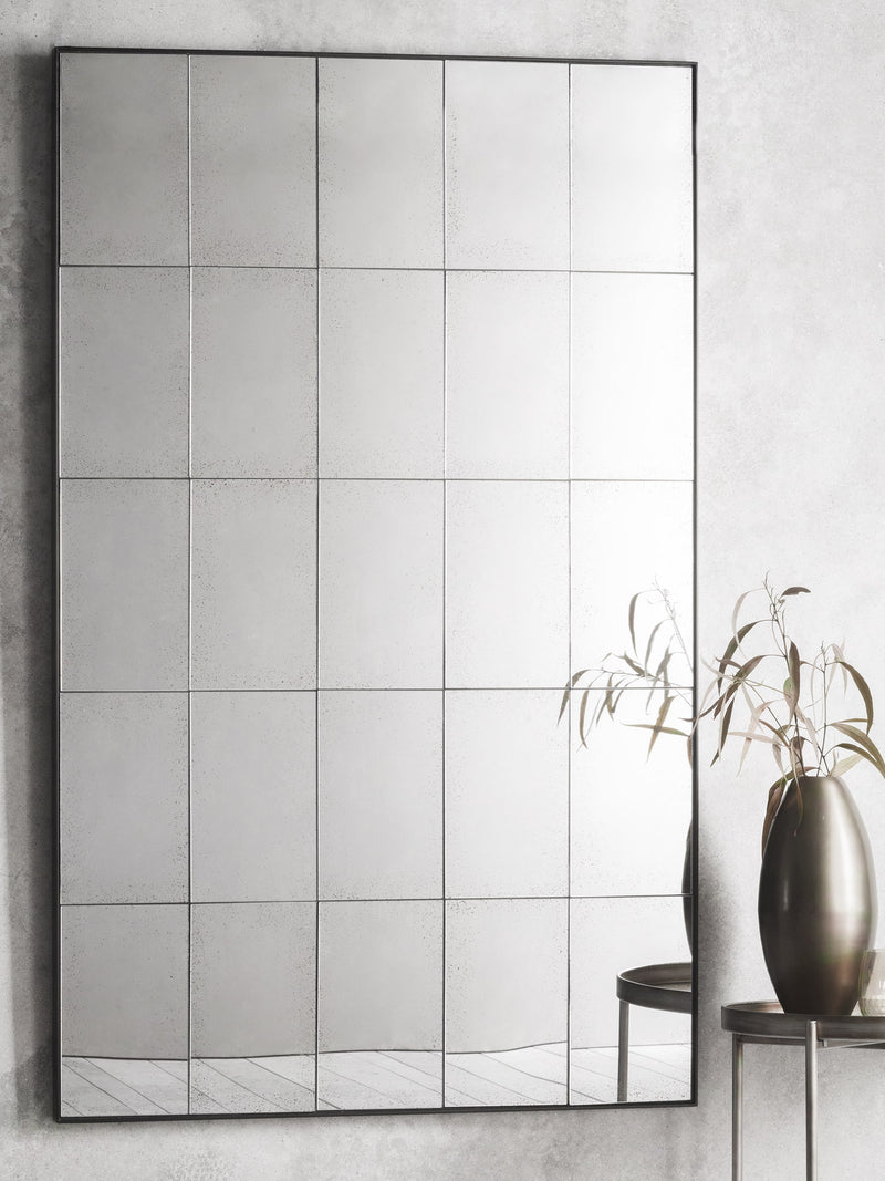 Antiqued Grid Rectangle Mirror