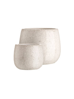 cream crackle flower pots in two sizes
