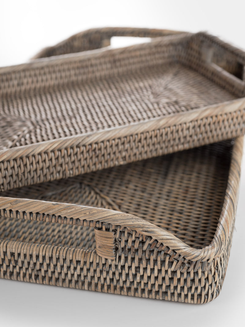 Grey Rattan Trays