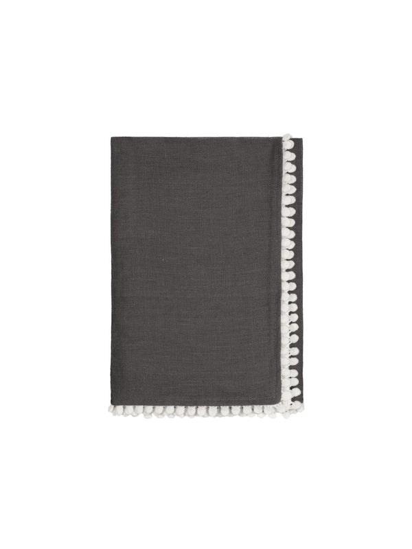 Charcoal Grey Linen Bobble Napkins