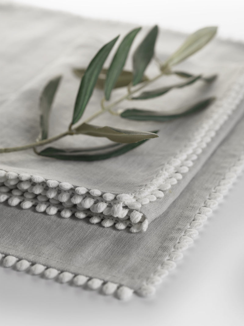 Dove Grey Linen Bobble Napkins
