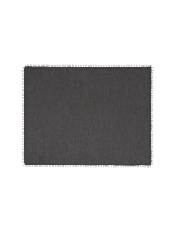 Charcoal Grey Linen Bobble Placemats
