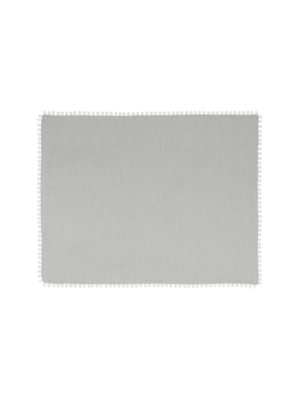 Dove Grey Linen Bobble Placemats