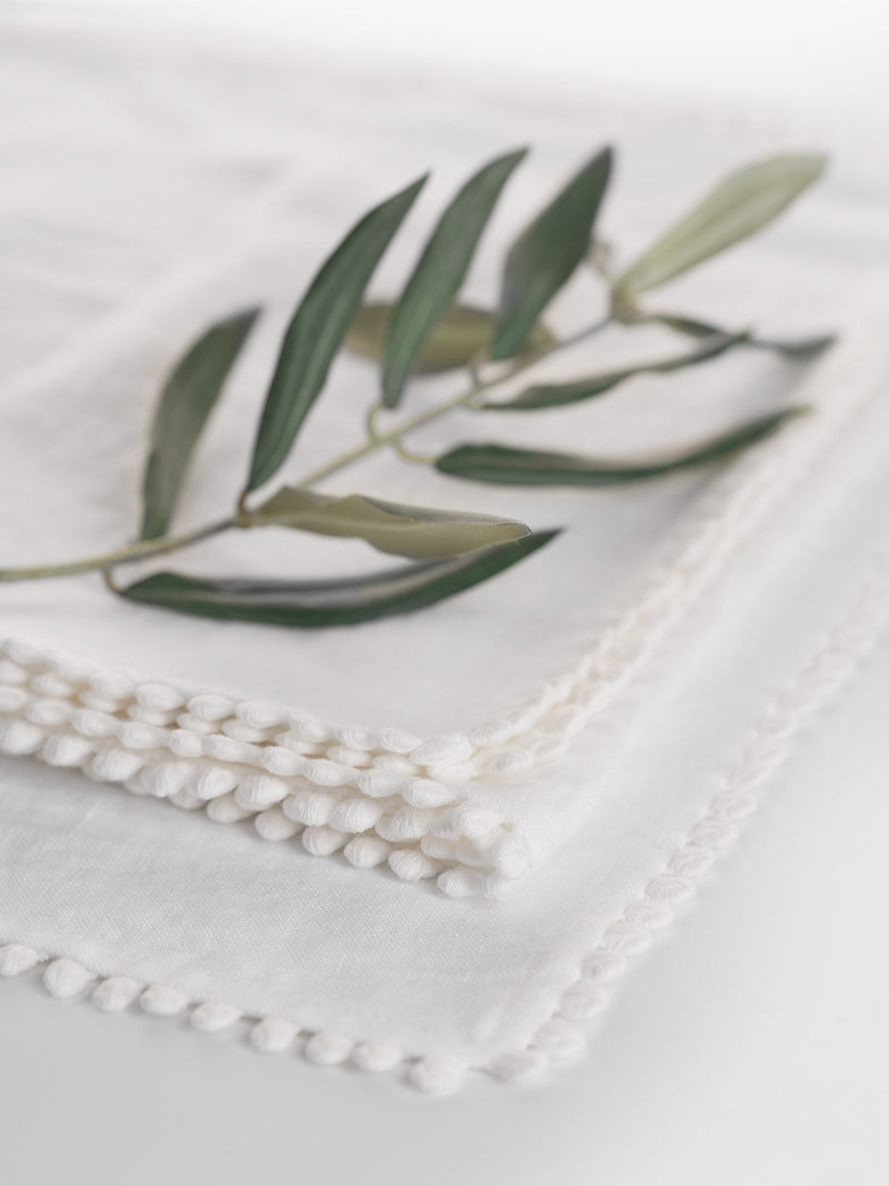 White Linen Bobble Placemats