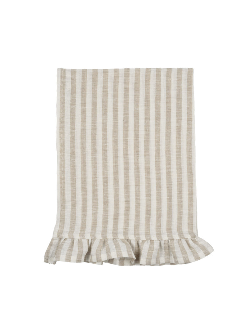Ruffle Linen Tea Towel Natural Stripe