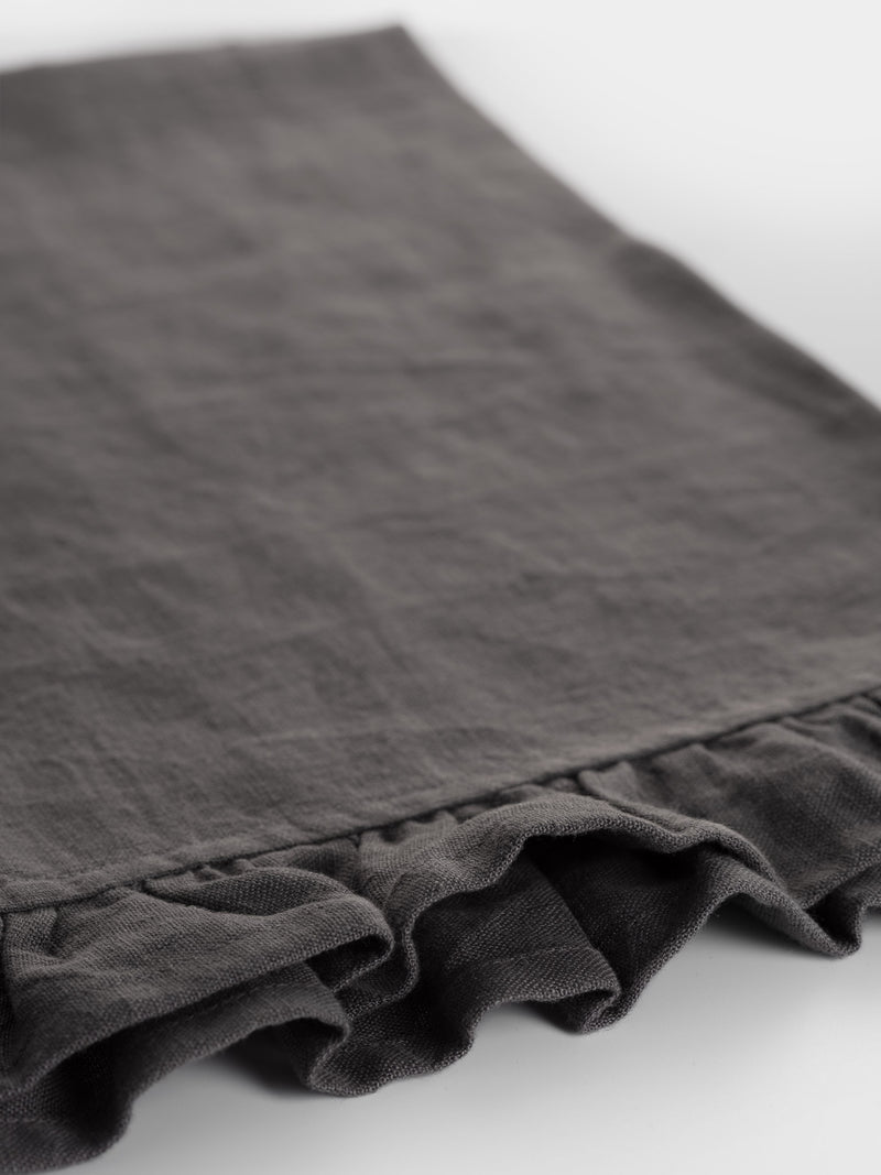 Ruffle Linen Tea Towel Charcoal Grey