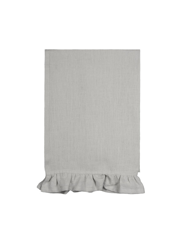 Ruffle Linen Tea Towel Dove Grey