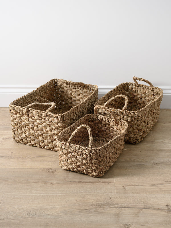 Natural Seagrass Oblong Baskets Set of 3