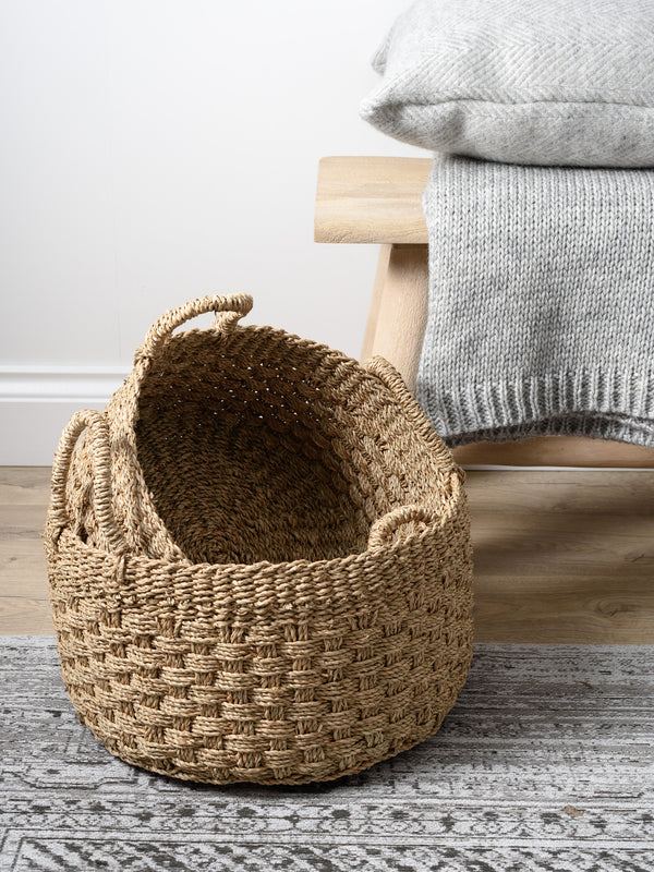 Natural Seagrass Round Baskets Set of 3