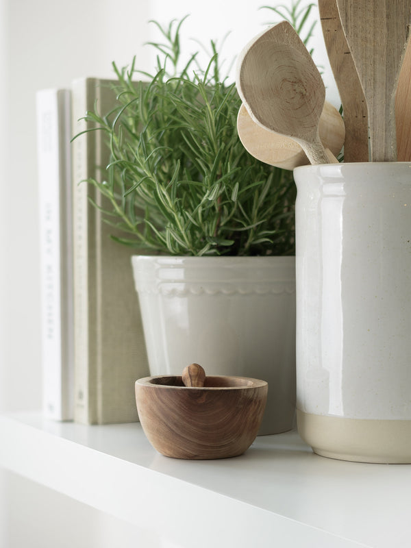 olive wood salt pot and spoon lifestyle