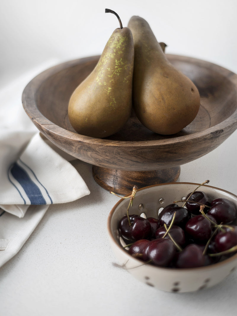 Wooden Pedestal Bowl pears fruit