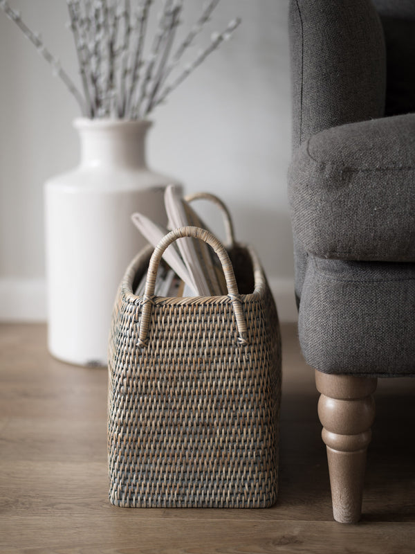 Grey Rattan Magazine Holder