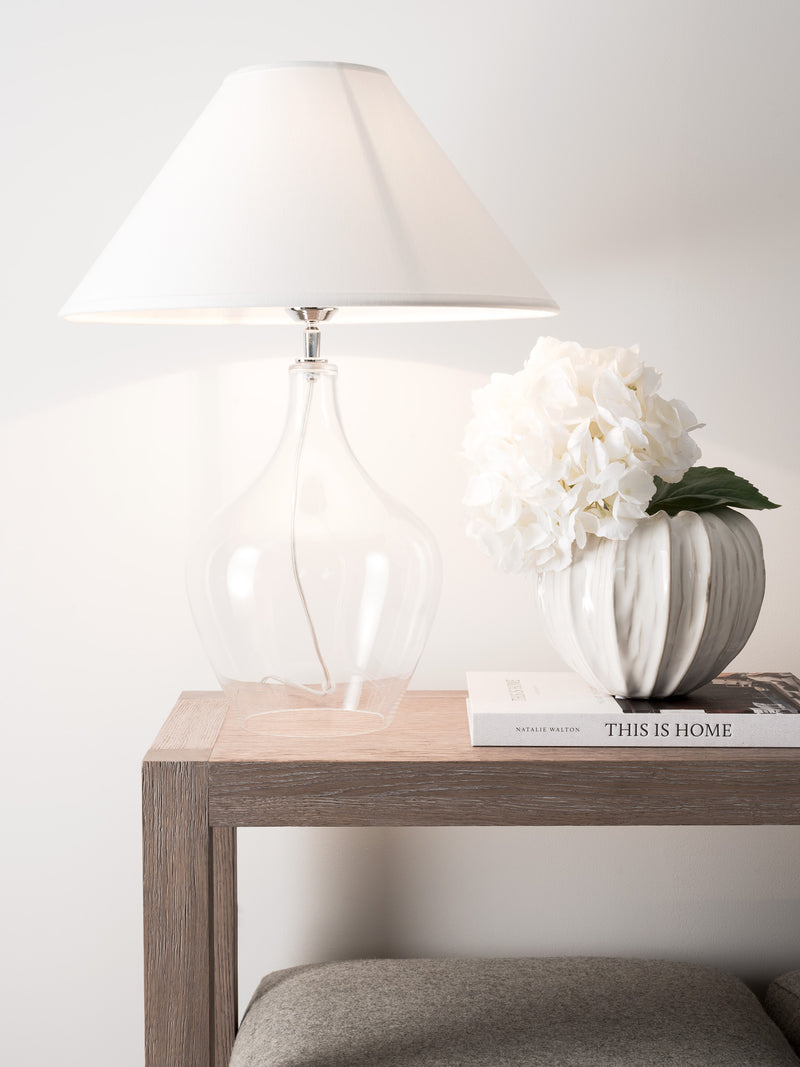 Romie Glass Lamp - White Coolie Shade