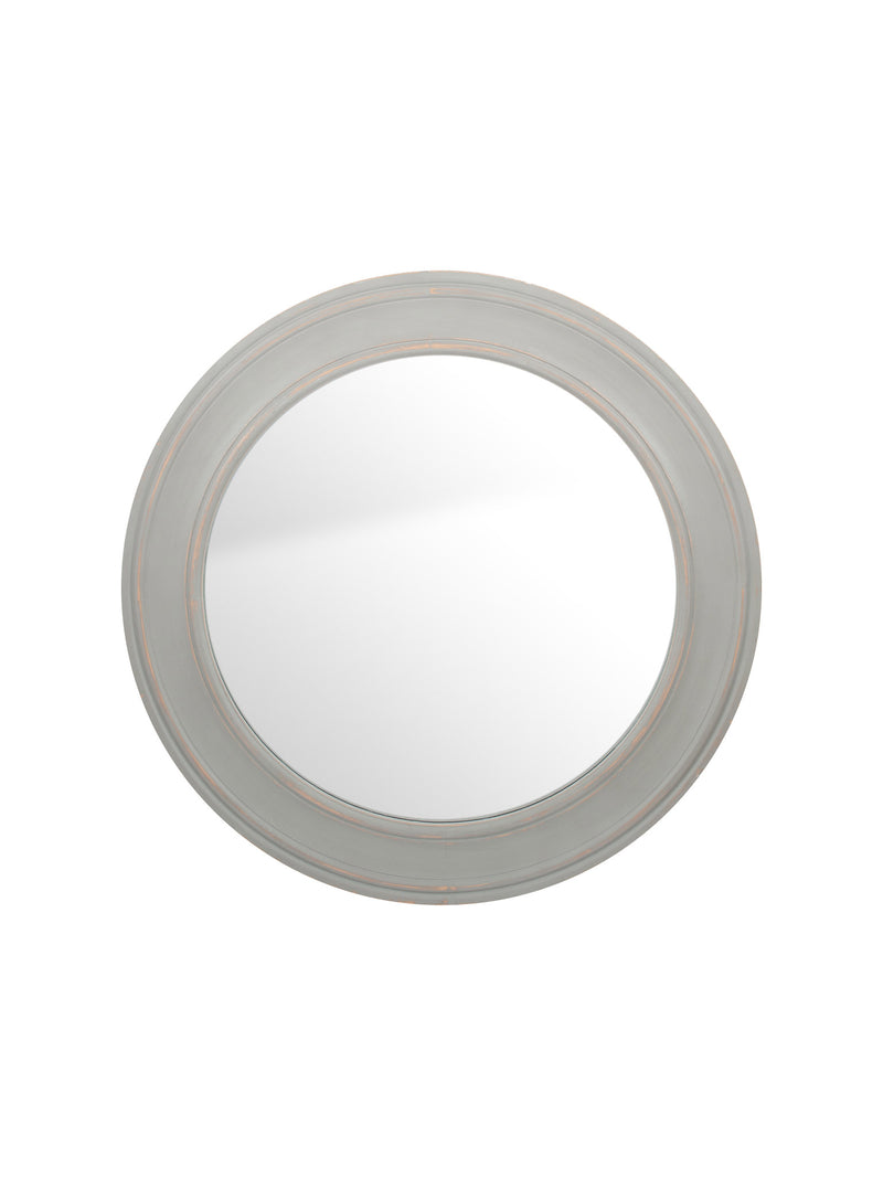 Round French Grey Washed Mirror - Large