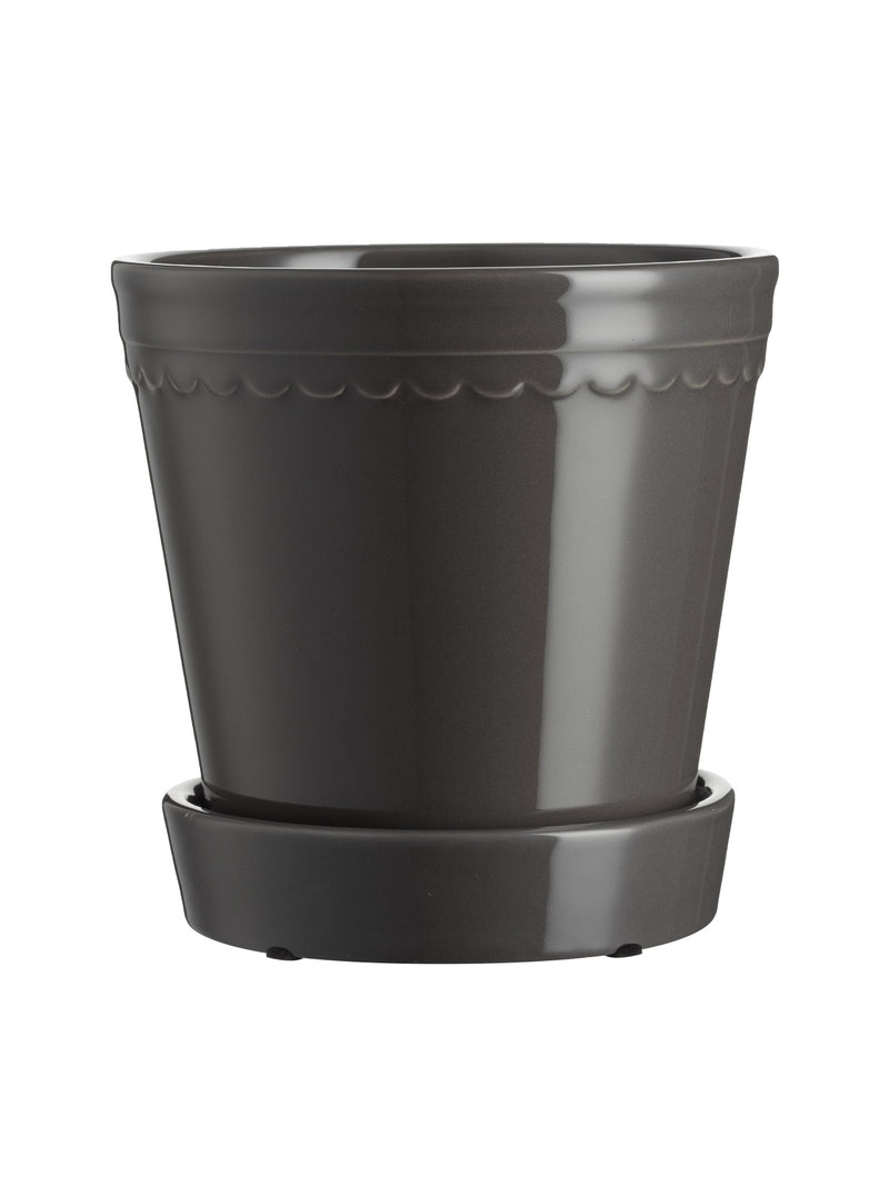 Scalloped Plant Pot Large - Charcoal