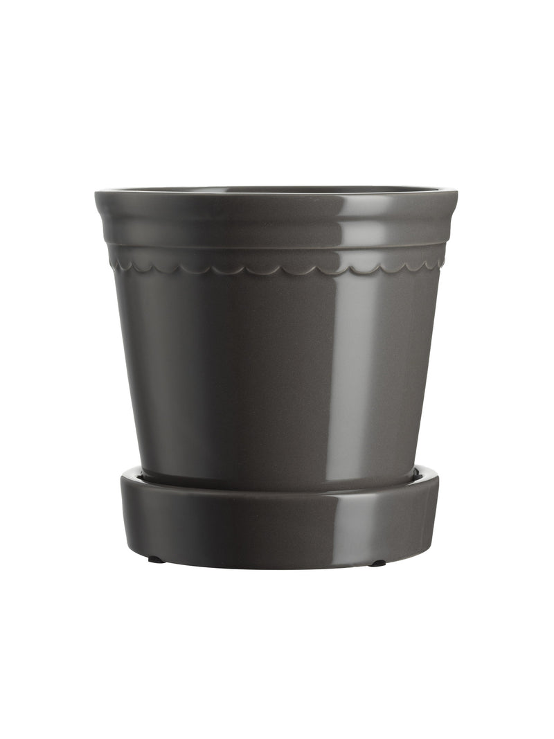 Scalloped Plant Pot Small - Charcoal