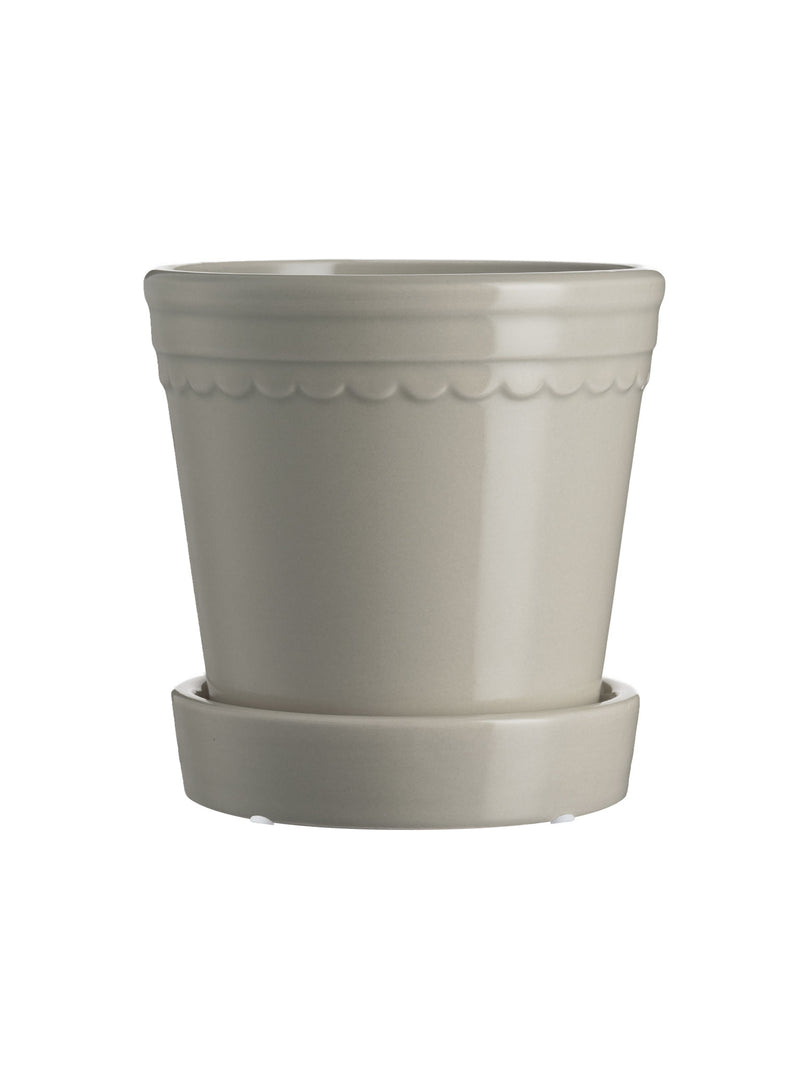Scalloped Plant Pot Small - Linen