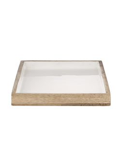 Wooden White Enamel Tray