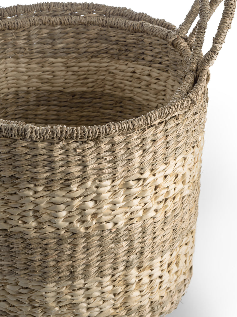 Woven Natural Seagrass Baskets Set of 2
