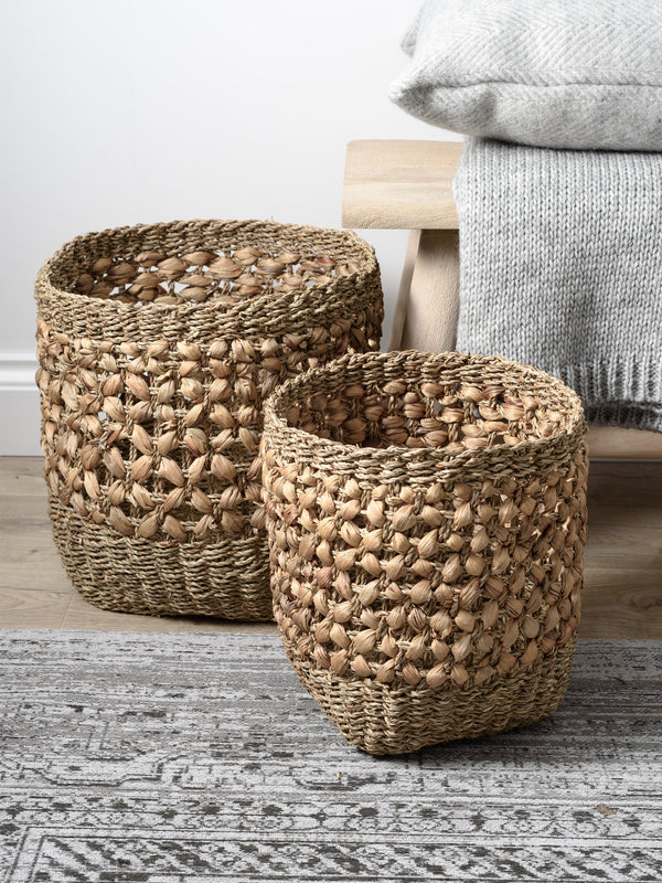 Woven Natural Seagrass and Water Hyacinth Baskets Set of 3