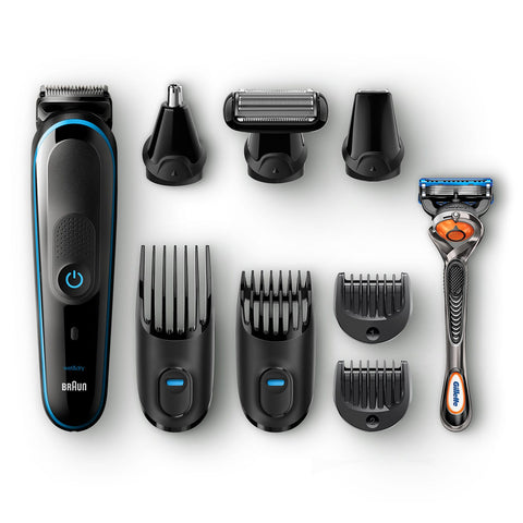 All-in-one trimmer MGK5080, 9-in-1 trimmer, 7 attachments and Gillette Fusion5 ProGlide razor.