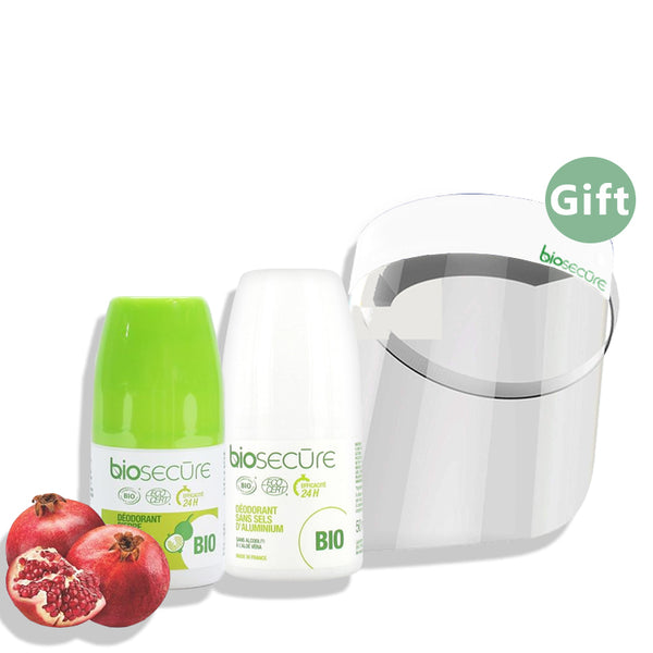 With the purchase of 2 Biosecure Deodorants get a Face Shield (Gift)