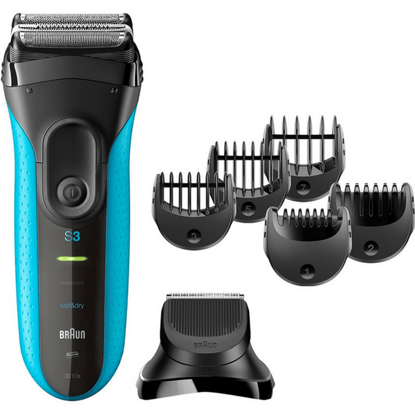 Series 3 Shave&Style 3010BT Wet & Dry shaver with trimmer head and 5 combs, blue.