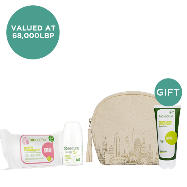 With any Organic Wipes & Deodorant from Biosecure receive an Aloe Vera Shampoo & Pouch (Gift)