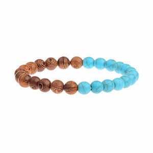 StreetTemple Blue Wooden Beads Bracelet