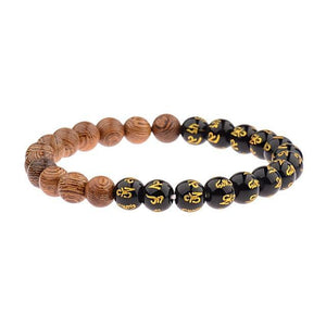 StreetTemple Gold Marks Wooden Beads Bracelet
