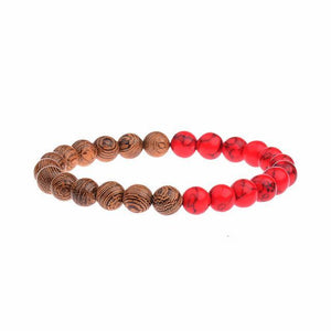 StreetTemple Red Wooden Beads Bracelet