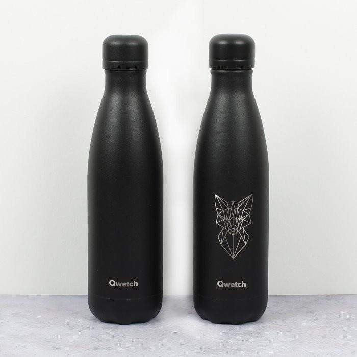 Gourde Animal Tattoo Renard en inox - 500ml Qwetch vrac-zero-dechet-ecolo-toulouse