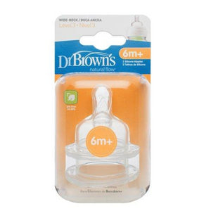 Dr Brown's Wide Neck Teat - Level 3 - 6 Months+ - 2 Pack