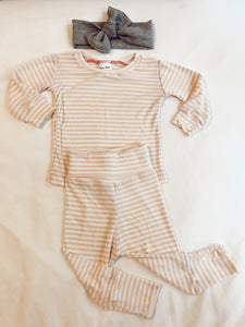 striped lounge set- blush