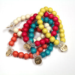 Beaded Bracelet with Gold Plated Charm