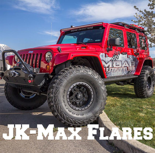 "JK-Max fender flares. Jeep has a 4"" long-arm kit with 40"" tires."
