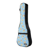 CLOUDMUSIC Colorful Cute Owls Hawaiian Ukulele Case 10MM Ukulele Backpack (Owl In Blue)