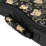 CLOUDMUSIC Colorful Cute Animals Pattern Hawaiian Ukulele Bag Ukulele Case (Owl In Black)