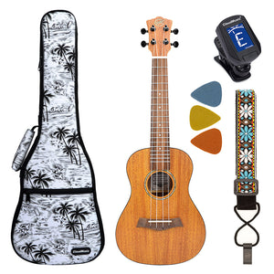 CLOUDMUSIC Mahogany Concert Solid Top With Aquila Strings Hawaiian Palm Tree Ukulele Case Ukulele Strap Ukulele Felt Picks TT12
