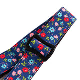CLOUDMUSIC Colorful Hawaiian Vintage Ethnic Cotton Ukulele Strap Blue For Soprano Concert Tenor Baritone Strings Instruments (Floral Pattern in Dark Bule)