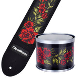 CLOUDMUSIC Guitar Strap PGS Series Jacquard Leather Roses Red Vintage Brown Blue Pattern (Red Roses)