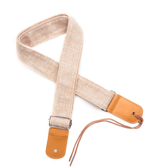 CLOUDMUSIC Ukulele Strap Soft Comfortable Cotton Flax With Leather Heads For Soprano Concert Tenor Baritone (Beige)