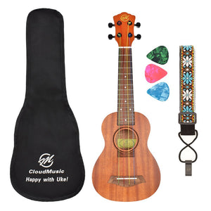 CLOUDMUSIC Ukulele Soprano Mahogany 21 inch Beginner Kit With Aquila Kids Educational Color Strings Ukulele Picks Ukulele Strap Ukulele Gig Bag TT22S