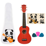 CLOUDMUSIC Panda Soprano Ukulele Kids Ukulele Beginner Ukulele With Aquila Educational Color Strings New Nylgut Strings For Beginner (Red)