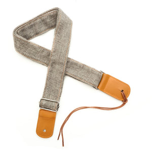 CLOUDMUSIC Ukulele Strap Soft Comfortable Cotton Flax With Leather Heads (Grey)