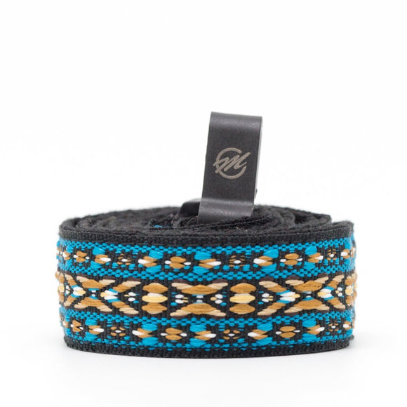 CLOUDMUSIC Colorful Hawaiian Jacquard Woven J Hook Clip On Ukulele Strap Ukulele Belt For Soprano Concert Tenor Ukulele (Blue Belt Strip)