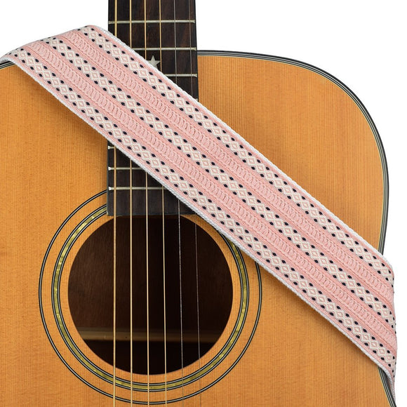 CLOUDMUSIC Guitar Strap Jacquard Weave Strap With Leather Ends Vintage Classical Pattern Design Guitar Picks Free (Girly Pink)